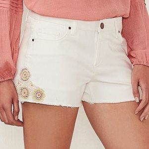 • lauren conrad white embroidered jean shorts •